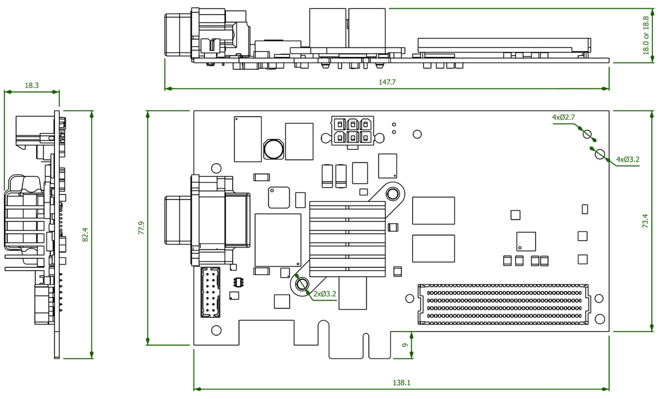 GigaExpress SBC - Rugged Zynq FMC Carrier - Outline Drawing